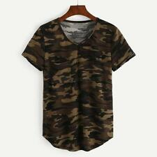 Womens Camouflage Printed T-shirts Army Short Sleeve Camo Shirt Tops Blouse Tee