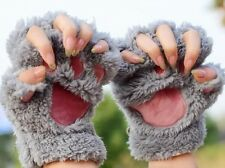 Stretch Gloves Warm Soft Winter Women Girl Bear Cat Plush Paw Fingerless Fluffy