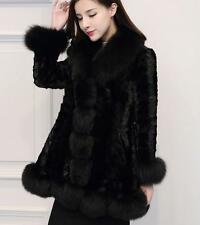 Chic womens parka Jacket trench coat real mink fur genuine fox collar winter New