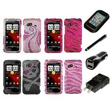For HTC Droid Incredible 4G LTE Diamond Diamante Rhinestone Case Charger Stylus