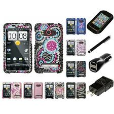 For HTC Evo 4G Diamond Diamante Bling Rhinestone Case Cover Charger Stylus