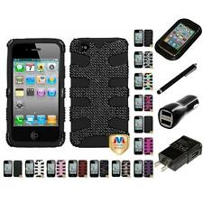 For Apple iPhone 4/4S Hybrid IMPACT Hard Soft Rugged Armor Case Cover Charger