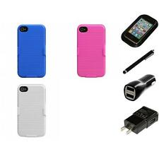 For Apple iPhone 4/4S Hard Matte Holster Belt Clip 2-Piece Case Cover Charger