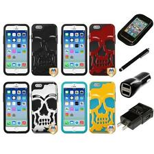 For iPhone 6/6S [4.7] Hybrid Skull Skeleton Impact Hard Soft Case Charger Stylus