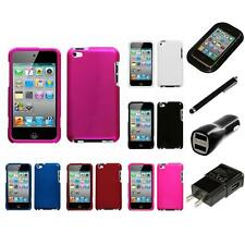 For Apple iPod Touch 4th Gen Rigid Plastic Hard Snap-On Case Cover Charger