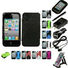 For Apple iPhone 4/4S Hybrid Rugged Impact Hard Soft Case Phone Cover Bundle