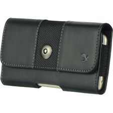 Luxmo Black Large PU Leather Belt Clip Holster Pouch Clip Case For Phones