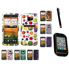 For HTC EVO 4G LTE Design Snap-On Hard Case Phone Skin Cover Mount+Pen