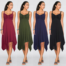 Summer Beach Party Womens Pleated Backless Stretch Strap Dress Tops Hem Dresses