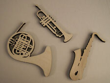 Music Instruments Wood Shapes, French Horn, Trumpet, Saxophone, Set of 6 Pieces