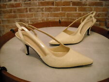 Joan Rivers Ivory Croc-Embossed Slingback Pump New