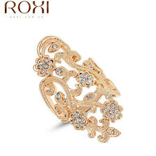 Finger Rings women Rose Gold/platinum plated Crystal Plum Flower wedding rings