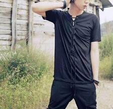 Retro Mens Casual Gothic Slim Fit Lace Up Short Sleeve T-Shirts Chic stylish