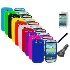 Silicone Rubber Color Case Cover+LCD+Charger+Pen for Samsung Galaxy S III S3