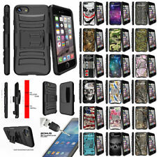 "For Apple iPhone 7 (4.7"") Rugged Holster Belt Clip Case Stand + Tempered Glass"