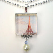 """PARIS FRANCE EIFFEL TOWER """"VINTAGE CHARM"""" FRENCH SILVER OR BRONZE NECKLACE"""
