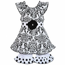 AnnLoren Boutique Girls' Black and White Damask Tunic with Long Shorts
