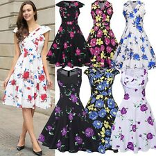 Womens Cap Sleeve Retro Rose Floral Cocktail Party Swing 1950s Rockabilly Dress