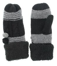KW Fashion Women's Two Tone Cable Knit Mittens with Pom Poms