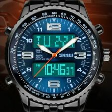 New Mens LED Digital Analog Quartz Date Alarm Wrist Watch Sport Waterproof Watch