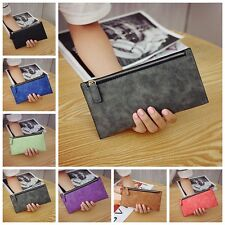 Womens Clutch Handbag Wallet Card Holder Purse Zipper Matte PU Leather Coin Bag