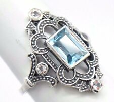 Blue Topaz White Topaz RING silver 925 Sterling Silver ANTIQUE STYLE