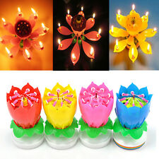 Romantic Musical Lotus Flower Rotating Happy Birthday Party Candle Lights Fancy