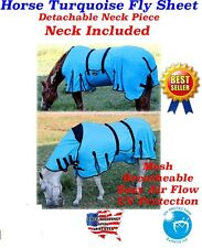 Horse Bug Mosquito Fly Sheet Summer Spring Airflow Mesh UV Neck Blue 73130M