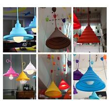 E27 Home Ceiling Hanging Pendant Lamp Light Bulb Holder + Silicone Lampshade