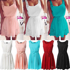 Womens Chiffon Casual Sleeveless Evening Party Beach Sundress Short Mini Dress