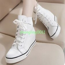 Womens Korean Leather Hidden Wedge Heels Lace Up High Tops Sneakers Shoes Boots
