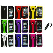 Color Black 3-Piece Rubberized Hard Case+Stylus Plug for iPhone 3G 3GS Accessory