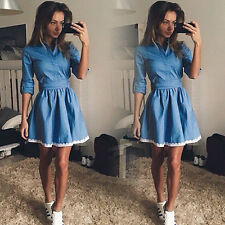Womens Party Short Mini Dress Casual Lace Denim Jeans Shirt Dress Skirt Clubwear