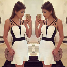 Sexy Womens Sleeveless Bodycon Strap Party Evening Cocktail Mini Dress Clubwear