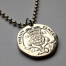 UK Great Britain 20 pence coin pendant Tudor rose flower plant necklace n000054