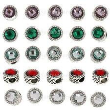 5pcs European Alloy Crystal Round Charms Space Charm Beads for Bracelet DIY