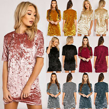 New Women Crushed Velvet Casual Tops T Shirt Loose Tunic Blouse Mini Dress S-3XL