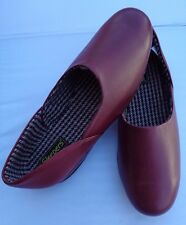 SLEEPERS ABRAHAM DELUXE GRECIAN FULL LEATHER UPPER & SOLE BURGUNDY SLIPPERS UK11