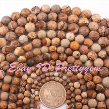 4-12mm Natural Multicolor Faceted Round Picture Jasper Gemstone Beads Strand 15""
