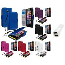 For Nokia Lumia 630 635 Wallet Flip Pouch Case Cover Accessory Car Charger
