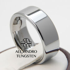 Tungsten Ring Wedding Bridal Band 8MM Durable Polished Silver Shiny Size 6 to 14