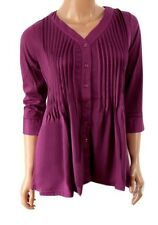 Womens Tunic Blouse Top Size 10 12 14 New Ladies Purple Pleated Gathered 3/4 Slv