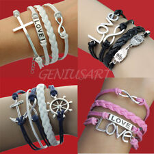 New Infinity Love Rudder Anchor Owl Cross Rope Leather Suede Wrap Bracelet Gift