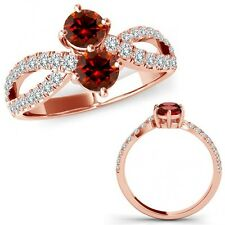 1 Carat Red Diamond Forever Us Two 2 Stone Infinity Fancy Ring 14K Rose Gold