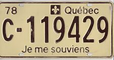 🚨🚨☀️☀️ 🏁 🏁 AUTHENTIC CANADA 1978 QUEBEC LICENSE PLATE. C-119429