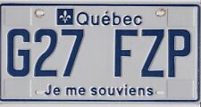 🏁 🌟🌟🎼🎶🎶 AUTHENTIC CANADA 2012 QUEBEC LICENSE PLATE. G27 FZP