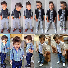 Toddler Kids Boys Blazer Coat Shirt Tops Denim Pant Trousers Clothes Outfit Sets