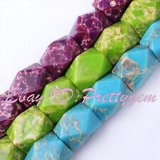 12x16mm Imperial Jasper Faceted Rectangle Shape Gemstone Beads Loose Strand 15""