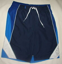 NIKE SWIM SWIMMING SWIMSUIT TRUNKS NAVY BLUE WHITE POLYESTER SHORTS S MEN