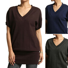 MOGAN V-neck Dolman Short Sleeve SWEATER Loose-Fit Knit Tunic Pullover TOP S